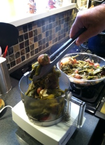 veggies going into food processor